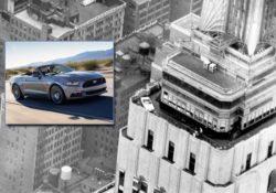 Ford Mustang на крыше Эмпайр Стейт Билдинг в Нью-Йорке