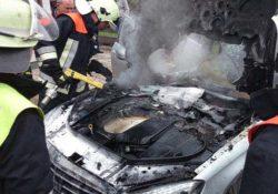 пожар, сгоревший автомобиль