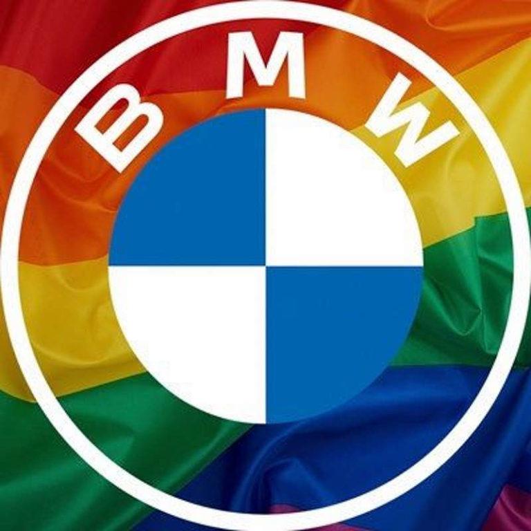 Радужный логотип BMW в социальной сети
