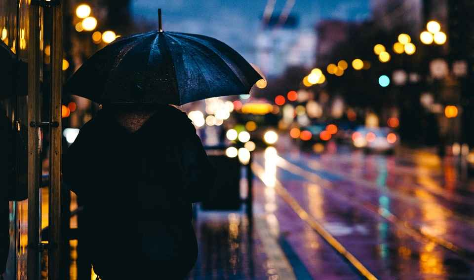 Дождь, ночь, улица, дорога, зонт