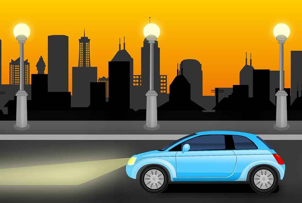 Автомобиль, дорога, город, ночь, фары