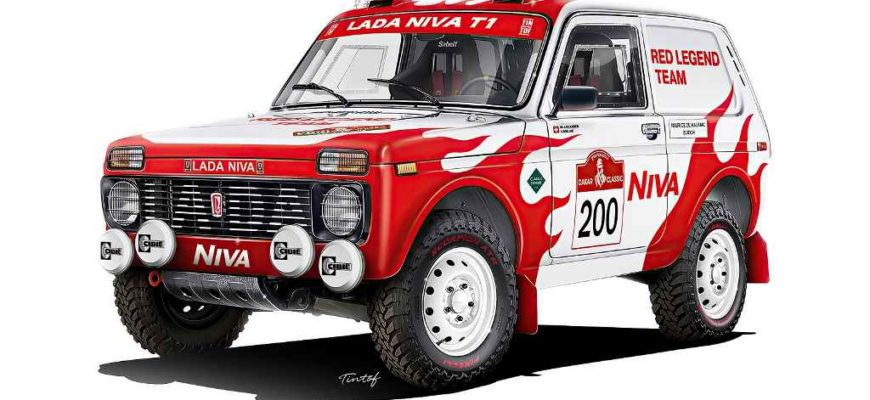Автомобиль Lada Niva 1984 года выпуска команды NIVA RED LEGEND Team из Швейцарии